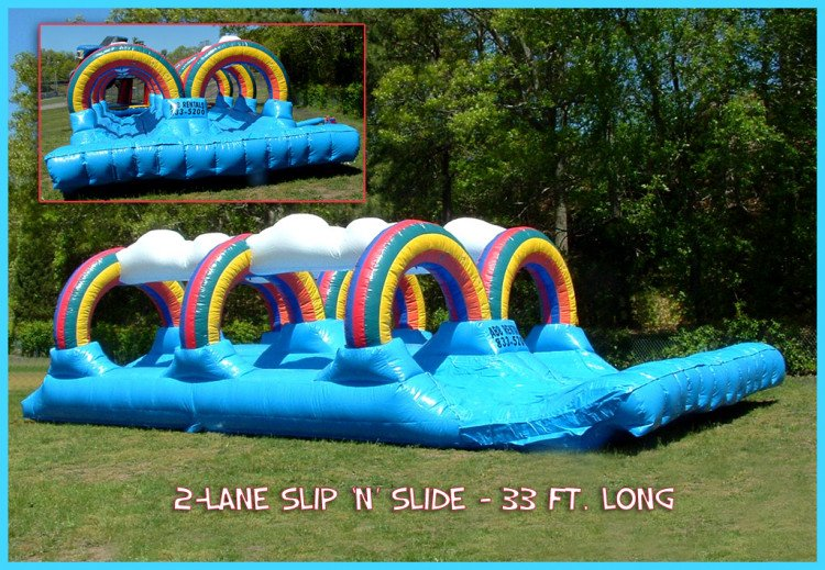 2 lane slip n slide water slide rental marion ma 1615826144 big Rainbow Dual Slip n Slide