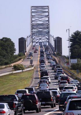 Cape Cod bridge with Traffic